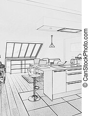 sketch of a  Modern open kitchen in renovated house
