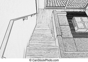 Drawing of Hardwood stairs and ramp in modern renovated...