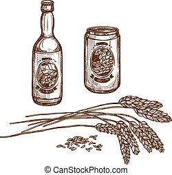 Beer draught bottle and lager can vector sketch - Beer and...