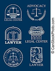 Advocacy or lawyer legal vector icons set - Legal icons for...