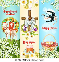 Happy Easter, He is Risen festive banner set