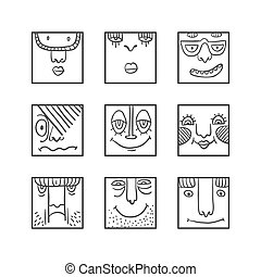Avatars doodle set - People face cartoon vector icons....