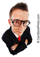 Top view of a business man - Wide angle top view of a proud,...