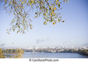 City Meets Nature - Green leaves in the foreground and a...