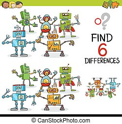 educational difference game - Cartoon Illustration of...
