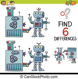 educational differences game - Cartoon Illustration of...