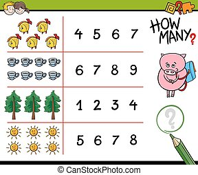 counting activity for kids - Cartoon Illustration of...