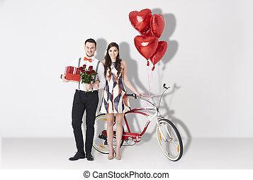 par,  valentines, celebrando, são, adorável, Dia