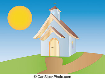 little chapel - landscape illustration