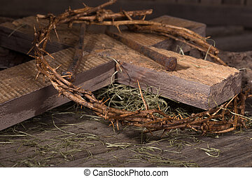 Crown of Thorns and Wooden Cross - Crown of thorns and wood...
