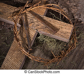Crown of Thorns and Wooden Cross