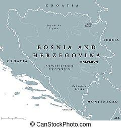 Bosnia and Herzegovina political map with capital Sarajevo....