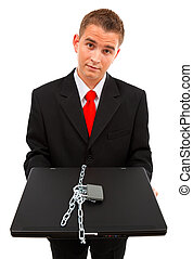 Man holding a locked computer