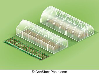 Set of greenhouses for plants