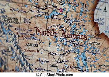 North America - a close up of the words North America on a...