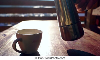 Coffe winter hot cup table - Cup coffe on the table. Winter...