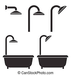 Shower and bath tub, silhouette icon for hotel