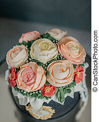 cake with roses - on a black background birthday cake...