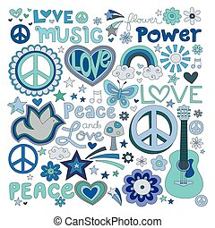 Peace and love - Vector illustrations on a peace and love...