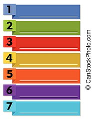 Infographic presentation template of the working process in seven steps with multicolored elements and blank text frames with white line