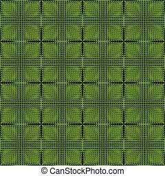 Halftone green and black inverse patterns composed as...