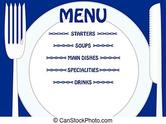 Menu template with plate, knife and fork. Write your own...