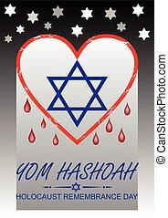 yom, arte, velas, hebreu, Holocausto, Dia, rua, voador, texto, recordação,  hashoah, estilo