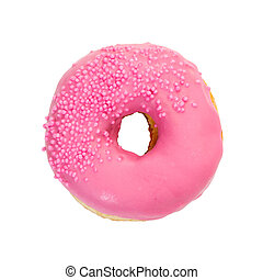 Donut with pink glaze and sprinkles isolated on white...
