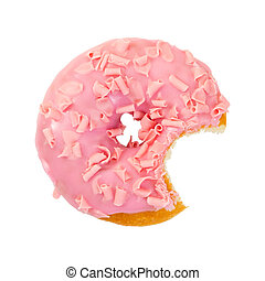 Bitten strawberry donut with pink chocolate chips
