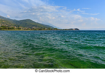 Lake Ohrid summer view. - Lake Ohrid and mountain summer...