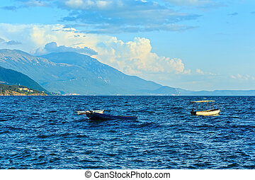 Lake Ohrid summer view. - Evening Lake Ohrid summer view...