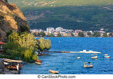 Lake Ohrid summer view. - Evening lake with boats and Ohrid...