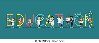 Ciencia, educación, alfabeto, bandera