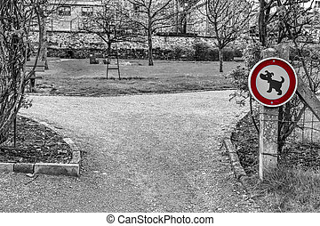 Sign Prohibiting Walking Dogs - The sign prohibiting walking...