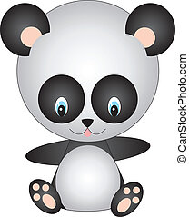 Panda vector - illustration of isolated cartoon panda on...