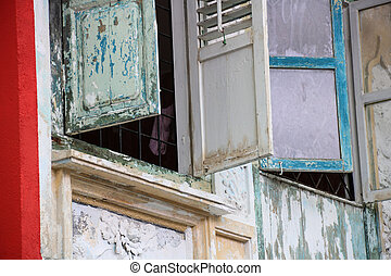 Asian Old Shophouse Windows Sarawak Borneo - Old painted...