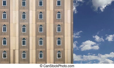 Facade of a building in a traditional Arabic style, Dubai,...