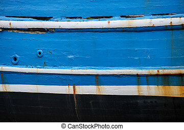 Old Blue Painted Boat Close Up - Close up side view of old...