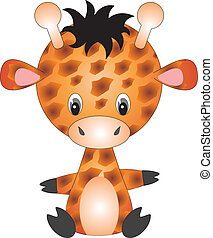Giraffe vector - illustration of isolated cartoon giraffe on...