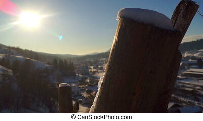 Dawn village winter sun - Fantastic winter landscape. Snowy...