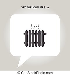 hot radiator iron heater with steam vector icon