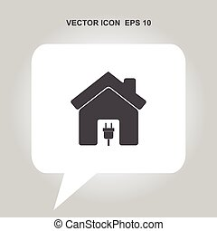 home with electric plug vector icon