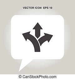 three-way direction arrow vector icon