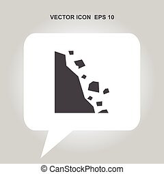 caution falling rocks vector icon