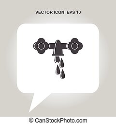 old faucet with a drop of water coming out of it vector icon