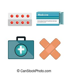 medical kit elements icon vector illustration design