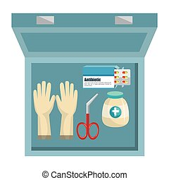 medical kit elements icon vector illustration design