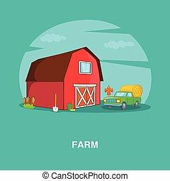 Farm concept, cartoon style