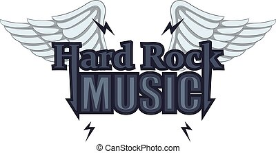 Hard rock music icon, cartoon style