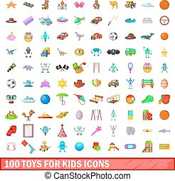 100 toys for kids icons set, cartoon style